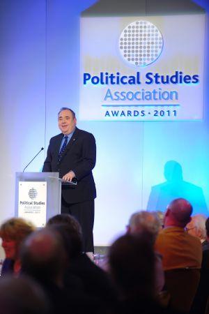 Photo of speaker at awards ceremony in London