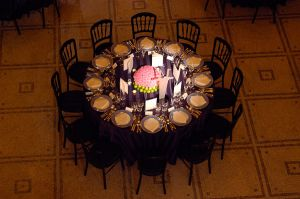 Table set up for corporate event at Grosvenor House